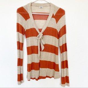 Splendid | Rust Rugby Stripe Tie Front Cardigan